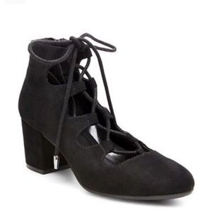 Black Suede Chucky Black Lace Up Heels NWOT